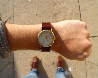 Mahogany Brown Leather Timex Weekender Watch Strap