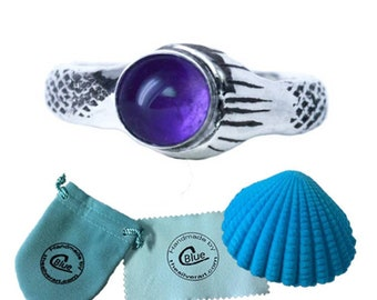 Amethyst The Real Mako Mermaid Ring Sterling Silver 925 + FREE Shell Box! size 3.5 to 11 Island of Secrets MoonPool Sirena Lyla Nixie