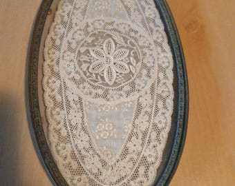 Antique Apollo Silver Glass Vanity Jewelry Perfume Oval Tray with Lace Insert Gilt Metal