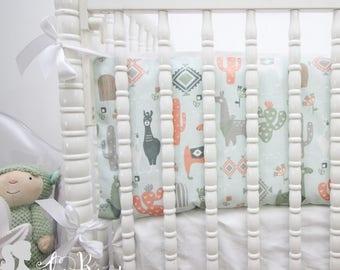 Blue, Peach & Green Little Llama2-in-1 Crib Bumper/Rail Cover | Convertible Baby Boy Bumper Set | Llama Crib Bumper Set