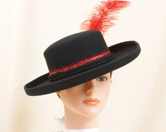 3267a22eef5 Red and Black Hat   Black Wool Hat   Matador Hat   Kentucky Derby Hat