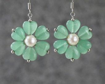 Jade pearl flower drop Earrings Bridesmaids gifts Free US Shipping handmade Anni Designs
