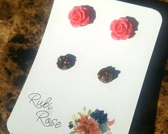 Pink Rose and Magenta Gold Faux Druzy earring set
