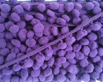 5 Yards Violet LargePom Pom Trim, Purple Trim, Violet trim, purple pom pom trim, Trim Lot, Wholesale Trim, Violet, Purple, Large Pom Pom
