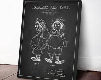 1915 Raggedy Ann Doll Patent Canvas Print, Raggedy Ann Poster, Raggedy Ann Decor, Wall Art, Home Decor, Gift Idea, GT29C