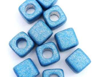 10 ceramic cube, light blue metallic, ceramic beads, greek beads, mykonos, dice, 5mm blue