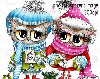 Twiggy & Toots Owl Carol zingen zwart-wit digitale stempel