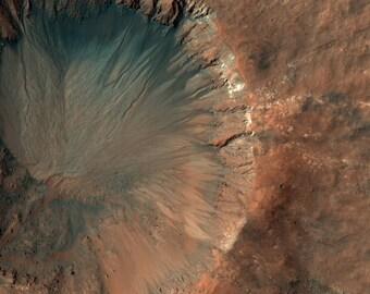 Mars, A Fresh Crater near Sirenum Fossae