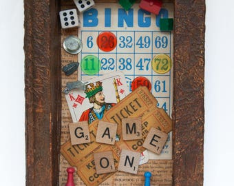 Assemblage Art - Altered Book Art - Vintage - Game Pieces