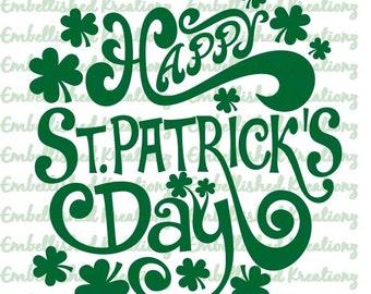 St. Patrick's Day/'Happy St. Patrick's Day' with Shamrocks Vinyl Decal/St. Patty's Day DIY/St. Patty's Day Decor/St. Patty's Day Photos/Sign