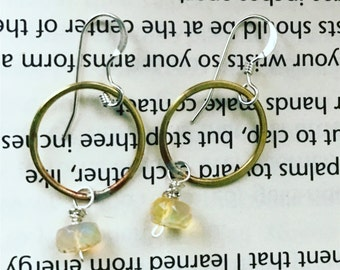 Ice Queen hammered recycled brass loops with welo opal sale was 37