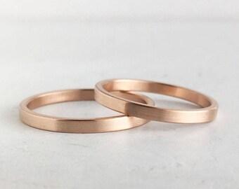 Brushed Finish Rose Gold Wedding Band Set   2mm and 2mm x 1.3mm rose gold rings   Rustic wedding bands 10k 14k 18k rose gold
