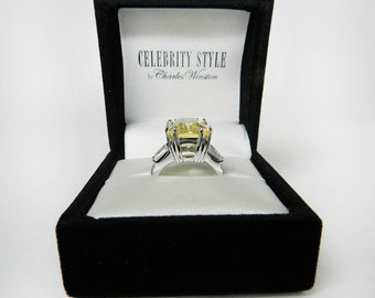 Emerald Cut Topaz Ring Charles Winston Jewelry Size 7 Ring With Baguettes CZ Diamond Ring Lab Created Large Stone Ring