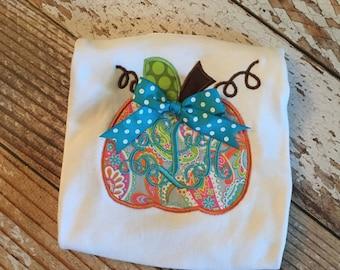 Paisley pumpkin bow applique with monogram shirt