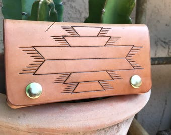 Leather Wallet, Raw Leather Wallet, Southwestern Wallet, Biker Wallet, Snap Wallet, Leather Billfold, Mens Accessories, Women's Accessories