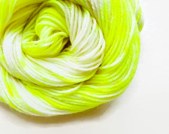 VOLT CREAM hand dyed yarn speckle. choose your base from fingering, sock, dk, or bulky yarn. white cream neon yellow yarn speckle yarn