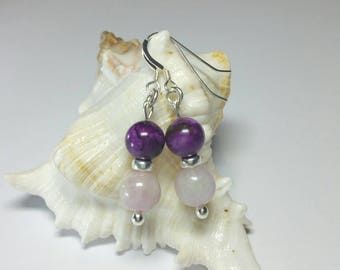 Kunzite & Charoite Crystal Earrings, Gemstone Earrings, 925 Jewelry, Handmade Sterling Silver Jewellery, Mixed Gemstone Earrings