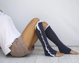 Indigo Knitted Legwarmers with White Lace // Indigo Boot Socks // Indigo Knit Lace Dancing Leg Warmer // Yoga Socks