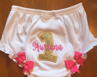 Gold Glitter and Pink Name Embroidery Birthday Baby Diaper Cover