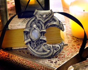 Fantasy Jewelry, Crescent Moon Pendant, Moonstone Pendant, Silver Pendant, Art Nouveau Pendant, Cosplay Pendant, Victorian Pendant,