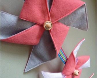 Pinwheel Mobile/Wall Hanging  Pink, Grey, White