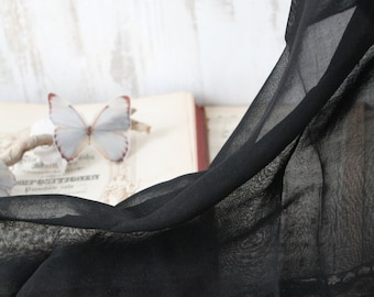 French vintage, antique black scarf, edwardian, early 20th century black Mantilla veil and fringes, 71 x 70 cm
