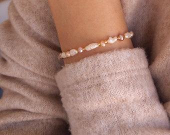 White Pearl Bracelet Freshwater Pearl Pink Pearl Dainty Bracelet Bridesmaid Bracelet Wedding Pearl Beaded Pearl Dainty Pearl Bridal Peal