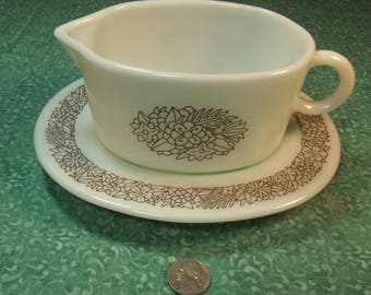 Vintage Pyrex Woodland Gravy Boat and Drip Plate Set