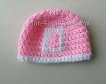 Ohio State Hat, Baby Girl's Ohio State Hat, Baby Ohio State Photo Prop, Girl's Buckeye Hat, Newborn Ohio State, Crochet Ohio State Hat, Pink