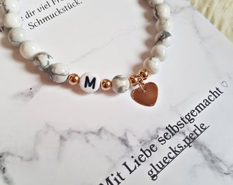 Pearl bracelet with wish text/925 sterling silver/bead bracelet/initial bracelet/Turquoise beads