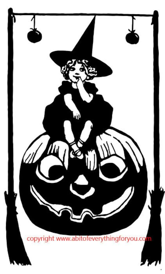 little witch girl jacko lantern pumpking art printable halloween clipart png download digital vintage image graphics