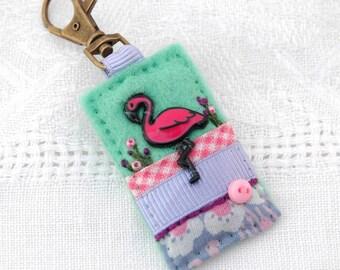 flamingo bag charm, flamingo themed gifts, pink flamingo, hand sew accessory, flamingo lover gift, exotic bird gift, flamingo key clip, UK