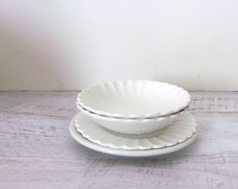 Ironstone Dishes, Ironstone Bowls, Farmhouse Plates, Mix and Match Plates, Rustic Bowls, Vintage White Ironstone Lot, Meakin China