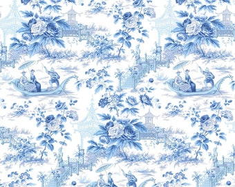 Asian Oriental Chinoiserie Toile Wallpaper Porcelain Blue on White Kenneth James