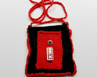 Hand Knit Black, White and Red Shoulder Bag - 6/8 Domino