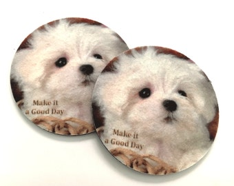 Adorable puppy coaster set - Free Shipping - Drink Coasters - Make it a good day - Buy One = Give Clean Water