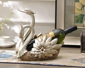 Loving Swans - Wine Bottle Holder / Fruit Storage