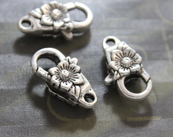Large Lobster Claw Clasp, Flower, Floral, Antique Sliver  5 Pieces 25x14mm