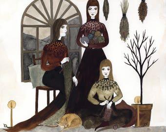 The Knitting Party Original Art Print