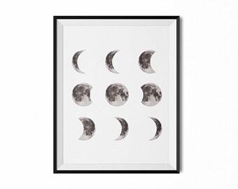 Full moon print, lunar phases Print, moon art, modern art, minimal print, black and white art, wall art, dorm art, home decor, moon poster