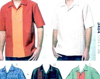 Mens Summer shirts Dads Husbands casual fashion Sewing pattern Kwik Sew 3484 Size Small to XXL UNCUT