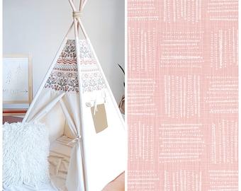 Blush Pink Shibori Canvas Teepee, Tipi, Play Tent, Kids Teepee, Childrens Teepee, Girls Teepee, Kids Room Decor, Playhouse