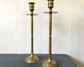 brass candle holders - gold metal candle sticks -  Mid Century Modern - boho lighting