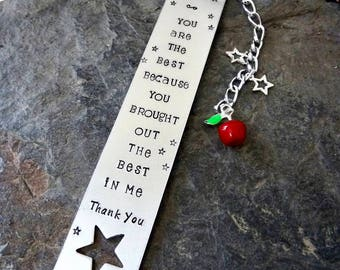 Teacher gift, Teacher bookmark, Teacher appreciation,personalized bookmark, hand stamped, end of year gift, inspirational quote bookmark,