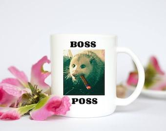 Possum coffee mug, opossum mug, Possums Rule, Boss Poss