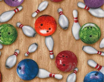 End of Bolt - 32 inches (x 44 wide) Bowling Balls and Pins from Robert Kaufman Fabric