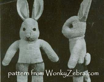 Vintage Rabbit Knitting Pattern 038 Bunny Knit from ToyPatternLand and WonkyZebra