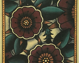 Tattoo Print : Flowers and Thistles