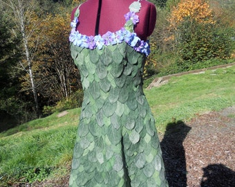 READY TO SHIP Green Leaf Dress Fairy Gown Costume Faerie Couture
