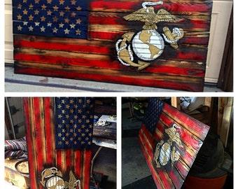 USMC American Flag, Marine Flag, Military, Armed Forces, Marine Wall Art, USA custom Wooden Flag, Wooden American Flag, Marine Art, Bar Art